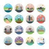 Écologie, industrie, ville, et icônes plates de campagne Illustration Libre de Droits