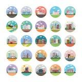 Écologie, industrie, ville, et paquet plat d'icônes de campagne Illustration Libre de Droits