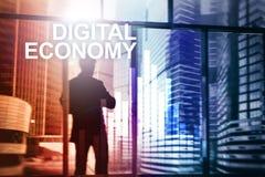 Économie de Digital, concept financier de technologie sur le fond brouillé Photo libre de droits
