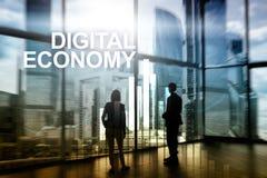 Économie de Digital, concept financier de technologie sur le fond brouillé Photographie stock