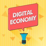 Économie de Digital des textes d'écriture La signification de concept se rapporte à un qui est basé sur des technologies informat illustration stock