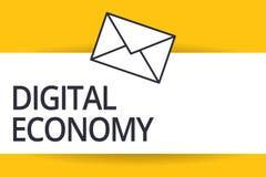 Économie de Digital des textes d'écriture La signification de concept se rapporte à un qui est basé sur des technologies informat illustration libre de droits