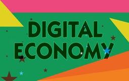 Économie de Digital des textes d'écriture de Word Le concept d'affaires pour se rapporte à un qui est basé sur des technologies i illustration stock