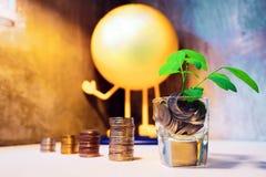 Économie pour acheter un concept de l'épargne de maison ou à la maison avec le St de pièce de monnaie d'argent Photographie stock libre de droits
