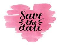 Économies de lettrage de main la date sur le coeur de rose d'aquarelle Photo stock