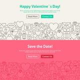 Économies heureuses de Saint-Valentin la ligne de date Art Web Banners Set illustration de vecteur