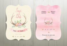 Économies rustiques de mariage de fleurs d'Antler la carte 02 d'invitation de date Photo stock