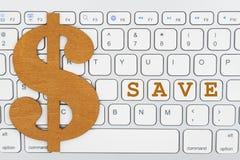 Économisez avec le symbole dollar sur un clavier photos libres de droits