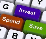 Économisez dépensent investissent des choix financiers d'exposition de clés illustration stock