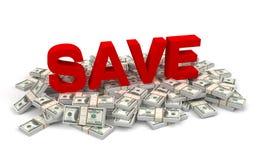 Économisez et illustration des factures d'argent 3d illustration stock