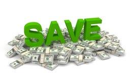 Économisez et illustration des factures d'argent 3d illustration de vecteur