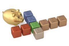 Économisez investissent la tirelire de mots croisé et d'or sur le fond blanc 3 illustration stock