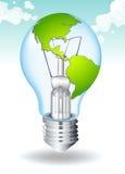 Économisez l'énergie avec la terre et la lumière illustration stock