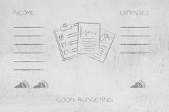 Économisez les documents avec la liste du revenu et des dépenses côte à côte W illustration de vecteur