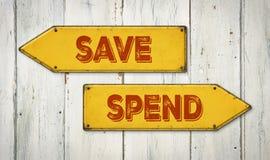 Économisez ou dépensez photos stock