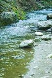 Écoulement approximatif de petite rivière de montagne Images stock
