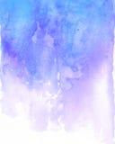 Écoulement bleu et pourpre d'aquarelle de fond Photographie stock