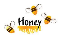 Écoulement d'abeilles et de miel de bande dessinée Fond de vecteur pour vous conception illustration stock