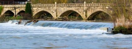 Écoulement d'eau élevé au-dessus de déversoir près de Bath sur la rivière Avon, arbres de transport avec elle Images libres de droits