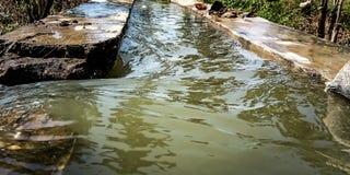 Écoulement d'eau de canal d'irrigation photographie stock