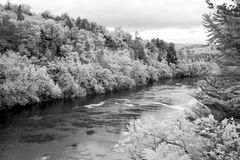 Écoulement de l'eau du St Croix River en noir et blanc infrarouge photos libres de droits