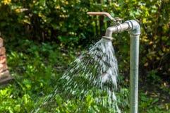 Écoulement de l'eau sur le robinet de jardin, fond trouble vert, photo libre de droits