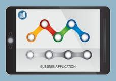 Écoulement et graphique d'affaires sur l'écran de comprimé Photographie stock libre de droits