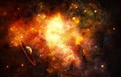 Écoulements artistiques uniques réguliers de planète dans le fond énergique de galaxie de nébuleuse image libre de droits