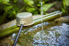 Écoulements d'eau à la station de nettoyage de temple Photographie stock