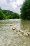 Écoulements de l'eau de la rivière de Frio Images libres de droits