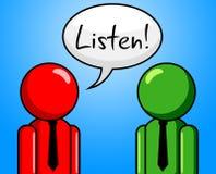 Écoutent la conversation indique la causerie et la causette de note Photos libres de droits