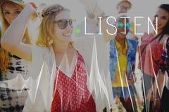 Écoutent le concept audio élégant de écoute de chanson saine de musique photo libre de droits