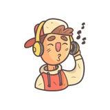 Écouter le garçon de musique en portrait décrit frais tiré par la main d'Emoji de chapeau et de veste d'université Photo stock