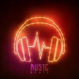 Écouteur au néon pour la musique Photos libres de droits