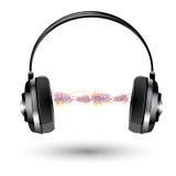 Écouteur avec l'onde sonore Photos stock