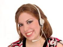 Écouteur de femme Photo stock
