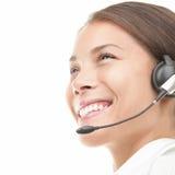 Écouteur de femme de centre d'attention téléphonique image libre de droits