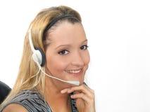 Écouteur de jeune femme Images stock