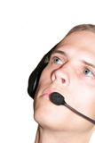 Écouteur mâle images stock