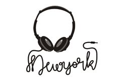 Écouteur New York de typographie de vecteur illustration libre de droits