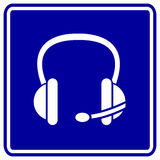 Écouteur ou écouteurs de vecteur avec le signe de microphone Photographie stock libre de droits