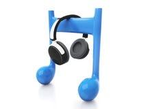 écouteurs 3d et note Photographie stock libre de droits