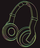 Écouteurs au néon Illustration de vecteur Photographie stock