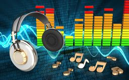 écouteurs audio du spectre 3d Photos libres de droits