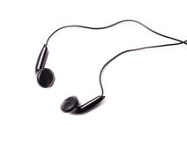 Écouteurs audio noirs portatifs modernes d'écouteurs Photos stock