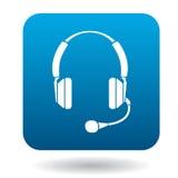 Écouteurs avec l'icône de microphone, style plat Image stock