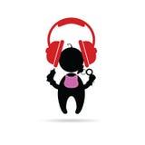 Écouteurs avec le vecteur de bébé Photo libre de droits