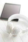 Écouteurs blancs de vintage Image libre de droits