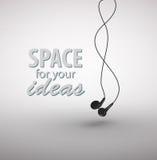 Écouteurs d'isolement sur le fond blanc Images libres de droits