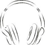 Écouteurs de Circumaural de croquis de vecteur Photos stock